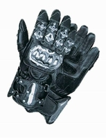 Leather Racing Gloves w/ Metal Knuckle Protector