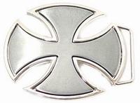 Buckle Iron Cross oval Silver